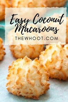 This easy coconut macaroons recipe has been hugely popular and you will love the delicious results. We have a quick video to show you how. Kokos Desserts, Coconut Desserts, Coconut Cookies, Easy Desserts, Recipe For Coconut Macaroons, Coconut Recipes Easy, Gluten Free Macaroons, Chocolate Coconut Macaroons, Coconut Brownies