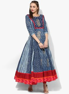 Sangria Round Neck 3/4Th Sleeves Flared Princessline Anarkali With Contrast Navy Blue Print Detail