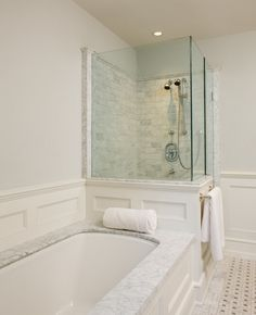 Toronto Restoration - traditional - bathroom - toronto - by Heintzman Sanborn Architecture~Interior Design Master Bedroom Bathroom, Modern Master Bathroom, Modern Bathroom Design, Bathroom Interior Design, Small Bathroom, Bathroom Ideas, White Bathrooms, Contemporary Bathrooms, Bath Ideas