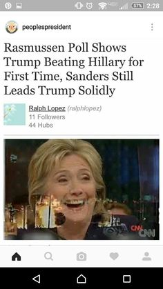 Bernie leads Trump by 15 points, Hillary polls between even and +3. The unknown factor is how many disenfranchised Bernie Sanders supporters that had their registrations switched or votes stolen will never vote for her. Some say as high as 40% - get used to President Trump...unless, Bernie goes GREEN !!!