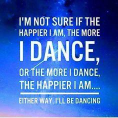 I'm not sure if the happier I am, the more I dance, or the more I dance, the happier I am ... Either way, I'll be dancing ... #thedamien #dancingwithdamien #dancequotez #dancesportquotes #ballroomdancingquotes #ballroomdancing #dancesport #dancing #dancers #dancer #dance #happier