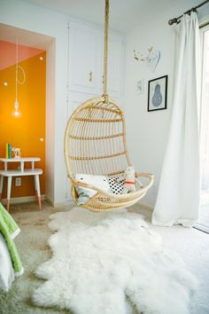 Spotted our Hanging Rattan Chair in @lalalovelyblog's  home tour on @smpliving! #serenaandlily #bedroom #hangingchair