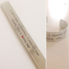 Profanities Bracelet Cuff by TellMeHowJewelry on Etsy Good Notes, Hand Stamped, Cuff Bracelets, Lettering, Random, How To Make, Etsy, Jewelry, Jewlery