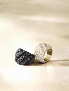 Hampton Cable rings with black or white diamonds.
