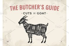 Cut of meat set. Poster Butcher diagram, scheme - Goat Graphics Cut of meat set. Vintage typographic hand-drawn goat silhouet by FoxysGraphic Meat Butcher, Butcher Shop, Meat Restaurant, Goat Meat, Meat Shop, Metzger, Meat Markets, Goat Farming, Lamb Chops