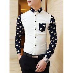 $18.82 Fashion Slimming Shirt Collar Heart Pattern Splicing Long Sleeve Men's Polyester Shirt
