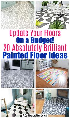 20 Gorgeous DIY Painted Floor Ideas- If you want to update your floors on a budget, then you need to use paint! For some wonderful inspiration, check out these 20 gorgeous DIY painted floor ideas! Painted Porch Floors, Painted Hardwood Floors, Vinyl Wood Flooring, Hallway Flooring, Painted Rug, Diy Flooring, Painting Linoleum Floors, Painting Concrete, Linoleum Flooring
