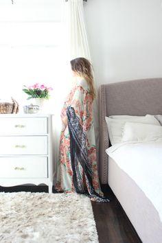Embiebaby elegant bohemian chiffon maternity kaftan maternity dress- Lanai Print