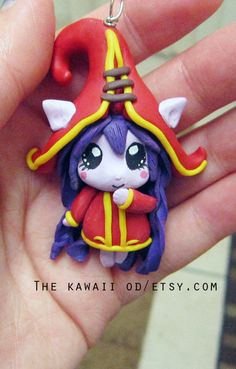 Lulu encanto inspirado en League of Legends - mano esculpida, pintado, arcilla polimérica, kawaii chibi