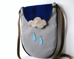 Grey Gray Cross Body / Shoulder Bag with Cowhide Leather Strap and Leather Rain Drops & Cloud