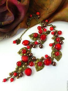 """Купить """"Вишневый сад"""" бусы из натуральных камней. Бусы из красного коралла. - авторские украшения камни"""