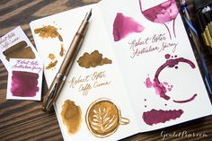 Beautiful fountain pens require stunning fountain pen ink! Try Robert Oster Signature inks, now offered in two new varieties: Caffe Crema & Australian Shiraz. Pin for later.