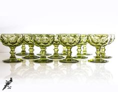 Vintage Set of 12 Imperial Glass Green by TheCordialMagpie on Etsy
