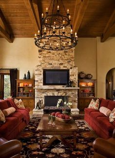 love this rustic and warm living room