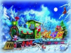 ★Coming Santa Claus★ - xmas and new year, christmas, paintings, trains, winter, reindeers, sleigh, moons, love four seasons, traditional art, santa claus, festival, greetings, celebrations, snow, gifts, white trees, seasons, holidays, weird things people wear