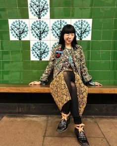 Susie Bubble wearing Mother of Pearl Quinn jacquard skirt from Autumn Winter 17 collection #motherofpearl #susiebubble #pearlyqueen #streetstyle