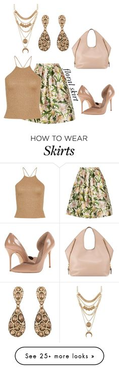 """Floral Skirt"" by dawndyb on Polyvore featuring Oscar de la Renta, Kurt Geiger, Charlotte Russe and Tom Ford"