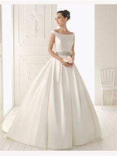 White Ball Beading Sash Off-The-Shoulder Strap Satin 2014 Wedding Dresses AWD030133