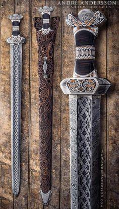 Bjornsvefn – New custom Viking sword André Andersson Custom Knives Katana, Swords And Daggers, Knives And Swords, Vikings Art, Norse Vikings, Armadura Medieval, Medieval Weapons, Arm Armor, Fantasy Weapons