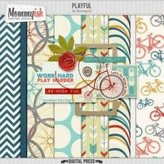 Free Printable Scrapbook Paper collection- love the colors and cute bicycles theme