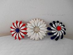 Vintage large enamel flower Brooches Pins LOT