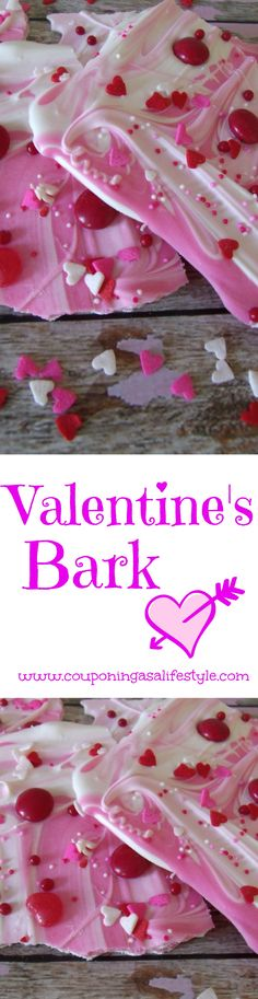 Valentine's Bark - white chocolate melts and sprinkles