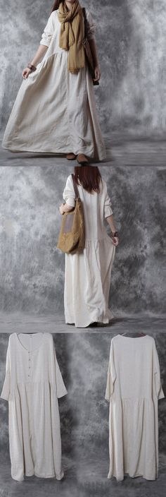 Casual loose cotton linen long sleeve dress