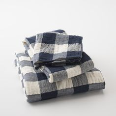 Vintage Check Towels - Navy