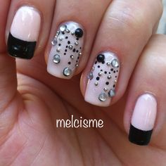 Black On Pink French & Bling Nails