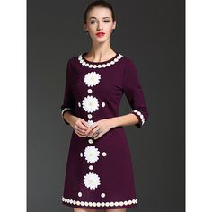Purple Embroidered Daisy Pattern A-line Mini Dress ($135) ❤ liked on Polyvore featuring dresses, embroidered dress, broderie dress, a line silhouette dress, purple a line dress and purple dress