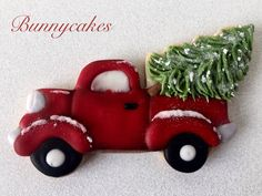 Vintage red pickup truck with Christmas tree sugar cookie by Bunnycakes-December 2016