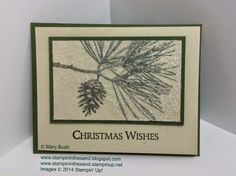 Sending Christmas Wishes with Sparkle!  Stampin' Up!'s Ornamental Pine stamp set sparkles with their Dazzling Diamonds Glitter and the Dryer Sheet Technique. Details and a shopping/supply list are available on my blog here: http://stampininthesand.blogspot.com/2014/12/dazzling-pine-wishes.html