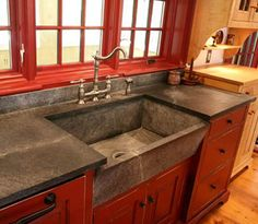 Supreme Kitchen Remodeling Choosing Your New Kitchen Countertops Ideas. Mind Blowing Kitchen Remodeling Choosing Your New Kitchen Countertops Ideas. Red Kitchen Cabinets, Kitchen Countertop Materials, Kitchen Redo, Kitchen Countertops, New Kitchen, 10x10 Kitchen, Kitchen Ideas, Stained Concrete Countertops, Primitive Kitchen Cabinets