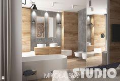 kolor drewna łazienka dolna  Salon Kąpielowy w industrialnym stylu - Łazienka - Styl Industrialny - MIKOŁAJSKAstudio