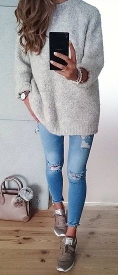 #fall #outfits women's gray sweatshirt and distressed blue fitted pants with pair of brown shoes poutfit