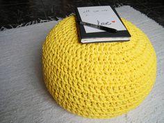 Yellow Crochet Pouf - Yellow Lemon Crochet Floor Cushions - Ottoman Nursery Footstool - Eco friendly Housewares - Spring Decor