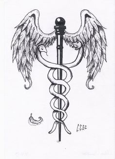 """My grandmother was in the hospital and she asked me to draw her this to give to her doctor and this is what came of """"Baby, can you draw me the medical staff with the snakes twisting around it for m. Symbol Tattoos, Arm Tattoos, Cute Tattoos, Body Art Tattoos, Tattoos For Guys, Sleeve Tattoos, Hermes Tattoo, Apollo Tattoo, Caduceus Tattoo"""