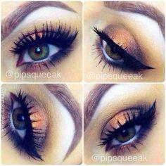 Metallic ginger makeup with beautiful false lashes