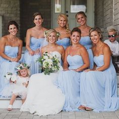 Strapless long Ice Blue David's Bridal Bridesmaid Dresses | Photo by @britttmbgray