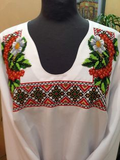 Hand-embroidered blouse thread embroidery by ModernEmbroideryUA
