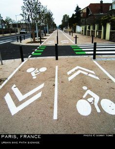 Small front lawns and generous cycle paths, sidewalks in suburban Paris. http://MrMayor.ir