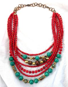 Tibetan stone beads, Red coral stone, seed bead glass and brass metal necklace.