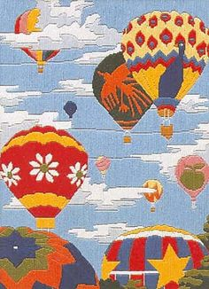 Balloon Regatta Long Stitch Kit (needlepoint)