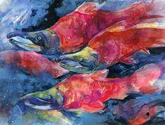 Sockeye Salmon Watercolor Painting, Red Fish Art,  - Original abstract watercolor fish painting By Kathy Morton Stanion EBSQ