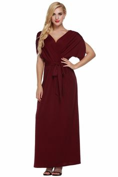 445109141c Sexy Fashion Women Dress Batwing Sleeve Deep V Neck Maxi Long Dresses Party  Evening Full Gown Belt Vestidos Femininos XXL