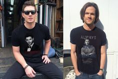 The boys and their shirts they both designed themselves :)  Love Jensen & Jared tons super good guys with hearts of gold <3                       *2015*