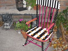 Photo of Fabulous Whimsical French Style OOAK Hand Painted Vintage Wooden Children's Rocking Chair Painted Rocking Chairs, Hand Painted Chairs, Whimsical Painted Furniture, Childrens Rocking Chairs, Hand Painted Furniture, Painted Tables, Diy Kids Furniture, Funky Furniture, Art Furniture
