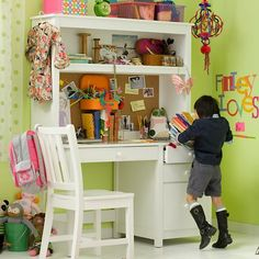 Storage Furniture - Kids White Simple Desk | The Land of Nod - white desk with hutch, white hutch desk, simple white desk with hutch,