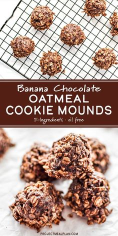 Banana Chocolate Oatmeal Cookie Mounds are a simple two-bite sized dessert, made with only 5-ingredients and no flour, eggs, or oil. Use up your ripe bananas and satisfy your chocolate cravings! -ProjectMealPlan.com #banana #chocolate #oatmeal #cookiemounds #oatmealcookies