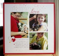 Today, I have a layout to share for this month's Pages With Papertrey Challenge, which is to use a stencil on your layout . Love Scrapbook, Scrapbook Pages, Scrapbook Layouts, Scrapbooking, Project Life, Puppy Love, Stencils, Challenges, Bible